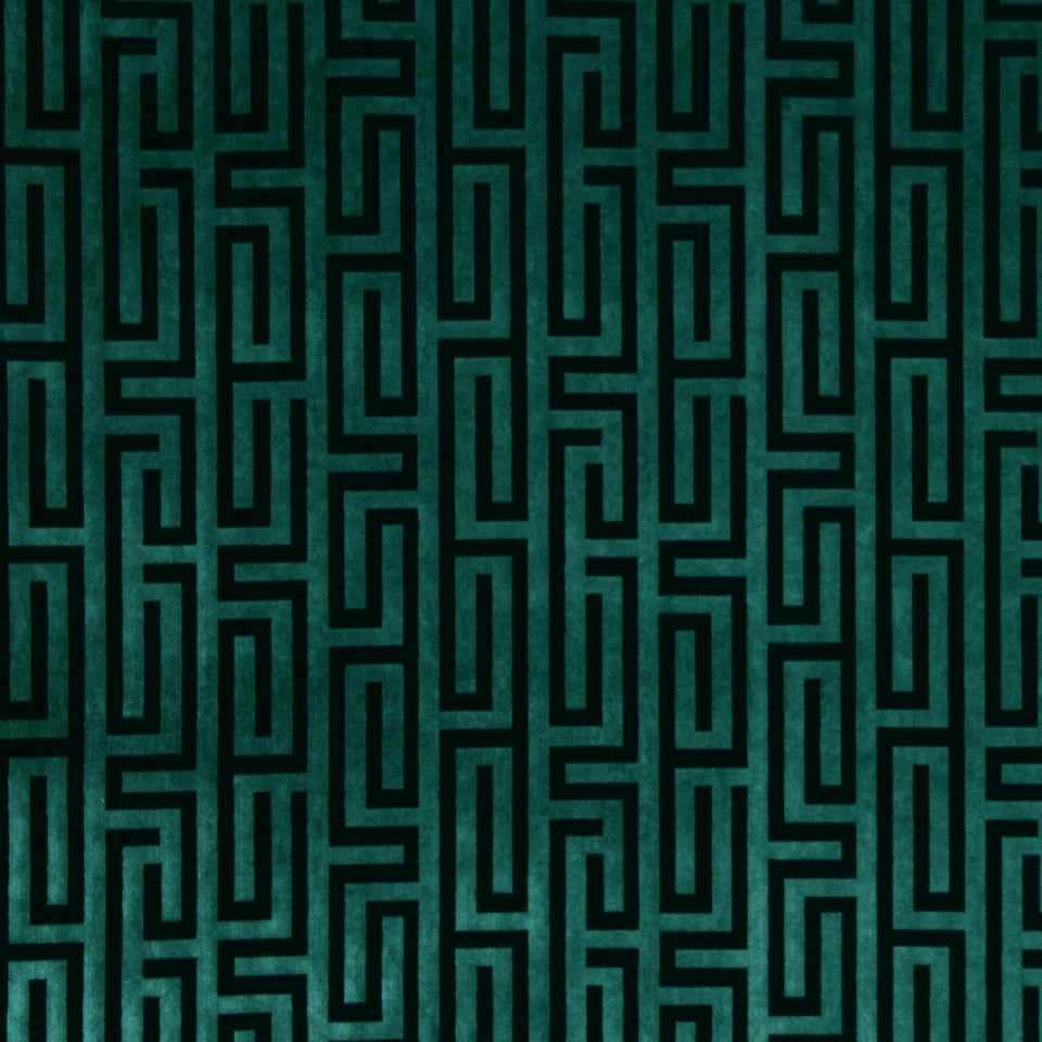 LARRY LASLO GEMSTONE Velvet Maze Fabric - Aquamarine