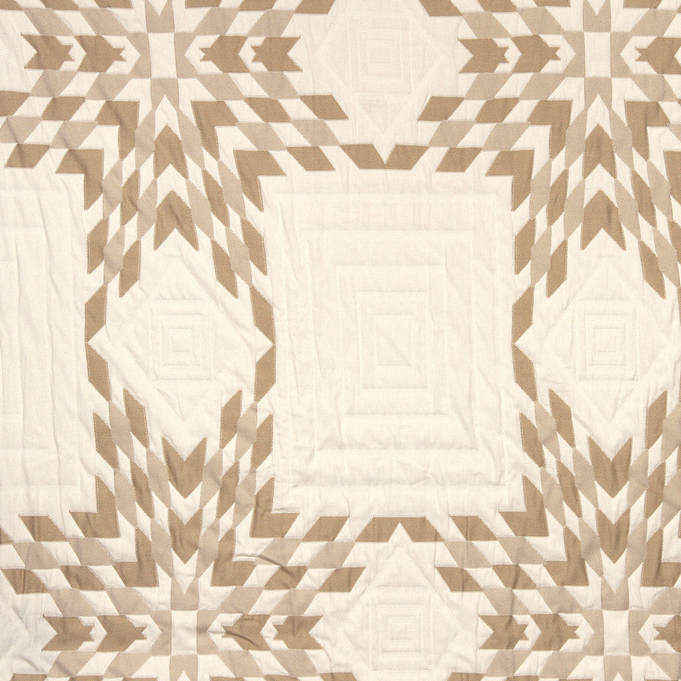 STRAW-TOAST-SADDLE Quilted Star Fabric - Grain