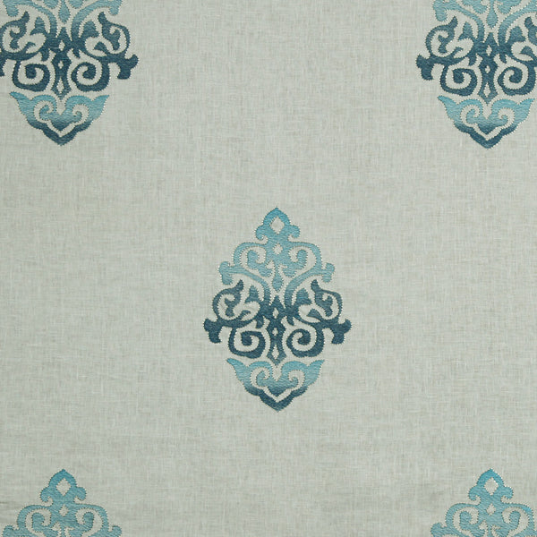 LARRY LASLO GEMSTONE Scrolling Art Fabric - Aquamarine