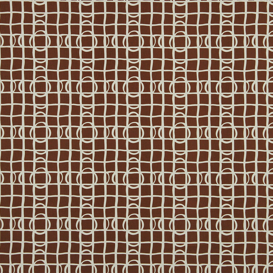 DWELLSTUDIO MODERN COLOR THEORY Lattice Graph Fabric - Copper