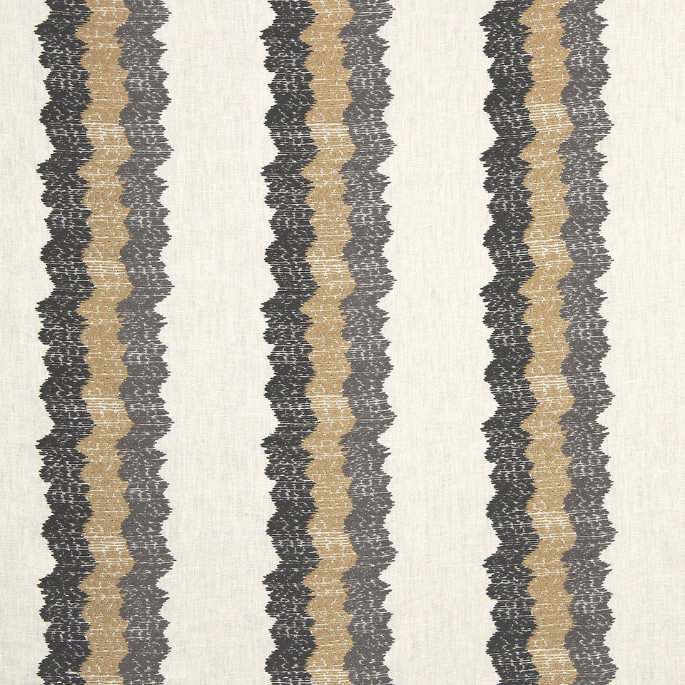 PEARL-TWINE-BLACK Wavy Stitch Fabric - Stone