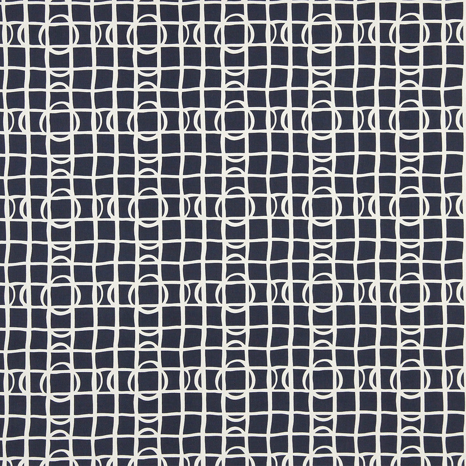 DWELLSTUDIO MODERN COLOR THEORY Lattice Graph Fabric - Ultramarine