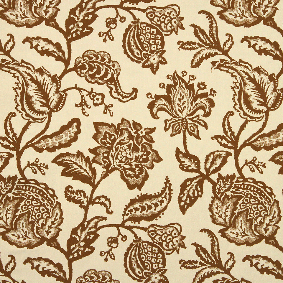 GOLDEN-MAIZE-HONEYSUCKLE Jacobean Toss Fabric - Amber