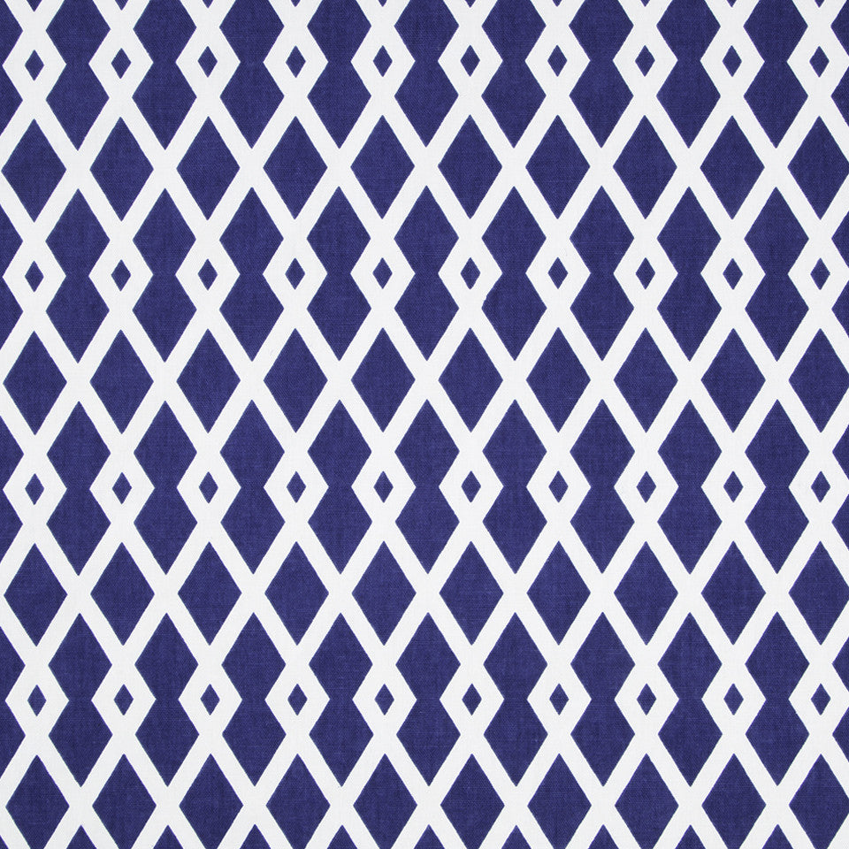 COLOR LIBRARY MULTI-PURPOSE: WATER-COBALT-SPRING GRASS Graphic Fret Fabric - Ultramarine