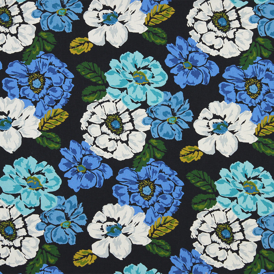 MARINER-COASTAL-NAVY Brushed Floral Fabric - Ultramarine