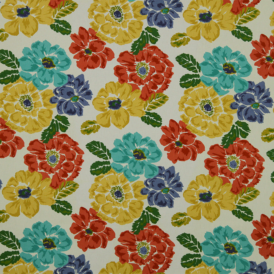 GOLDEN-MAIZE-HONEYSUCKLE Brushed Floral Fabric - Calypso
