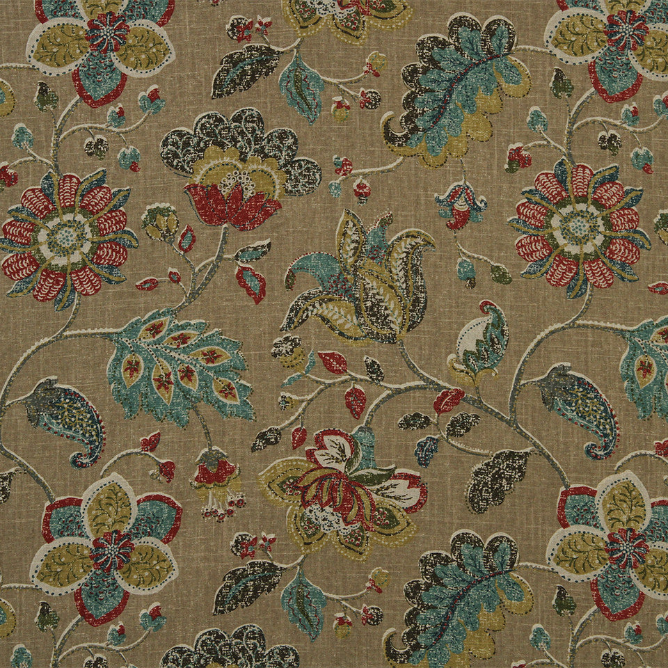 GOLDEN-MAIZE-HONEYSUCKLE Spring Mix Fabric - Pomegranate