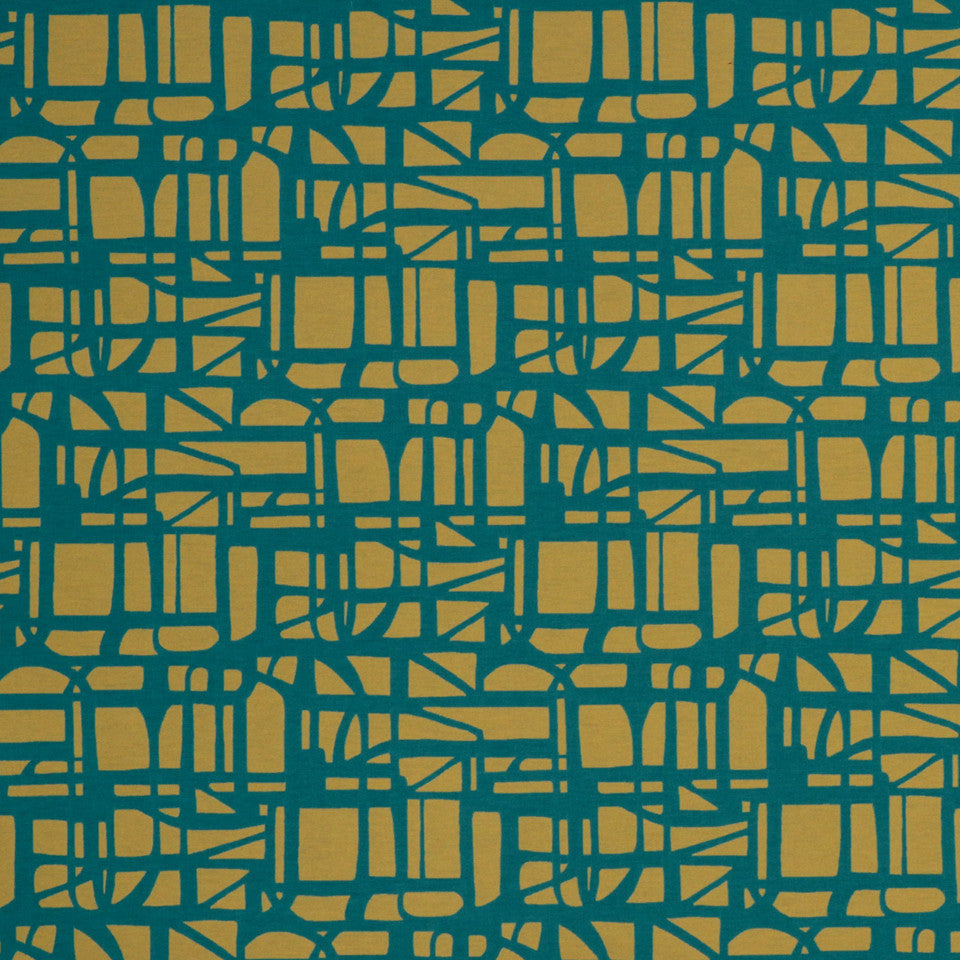ECLECTIC Gridded Maze Fabric - Turquoise