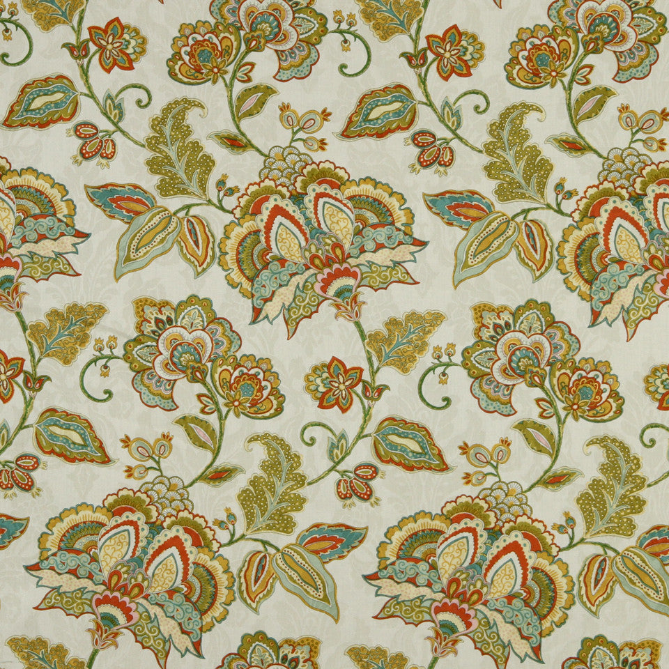 GOLDEN-MAIZE-HONEYSUCKLE Amali Garden Fabric - Honeysuckle