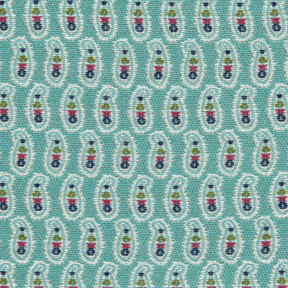 TURQUOISE Small Paisley Fabric - Turquoise