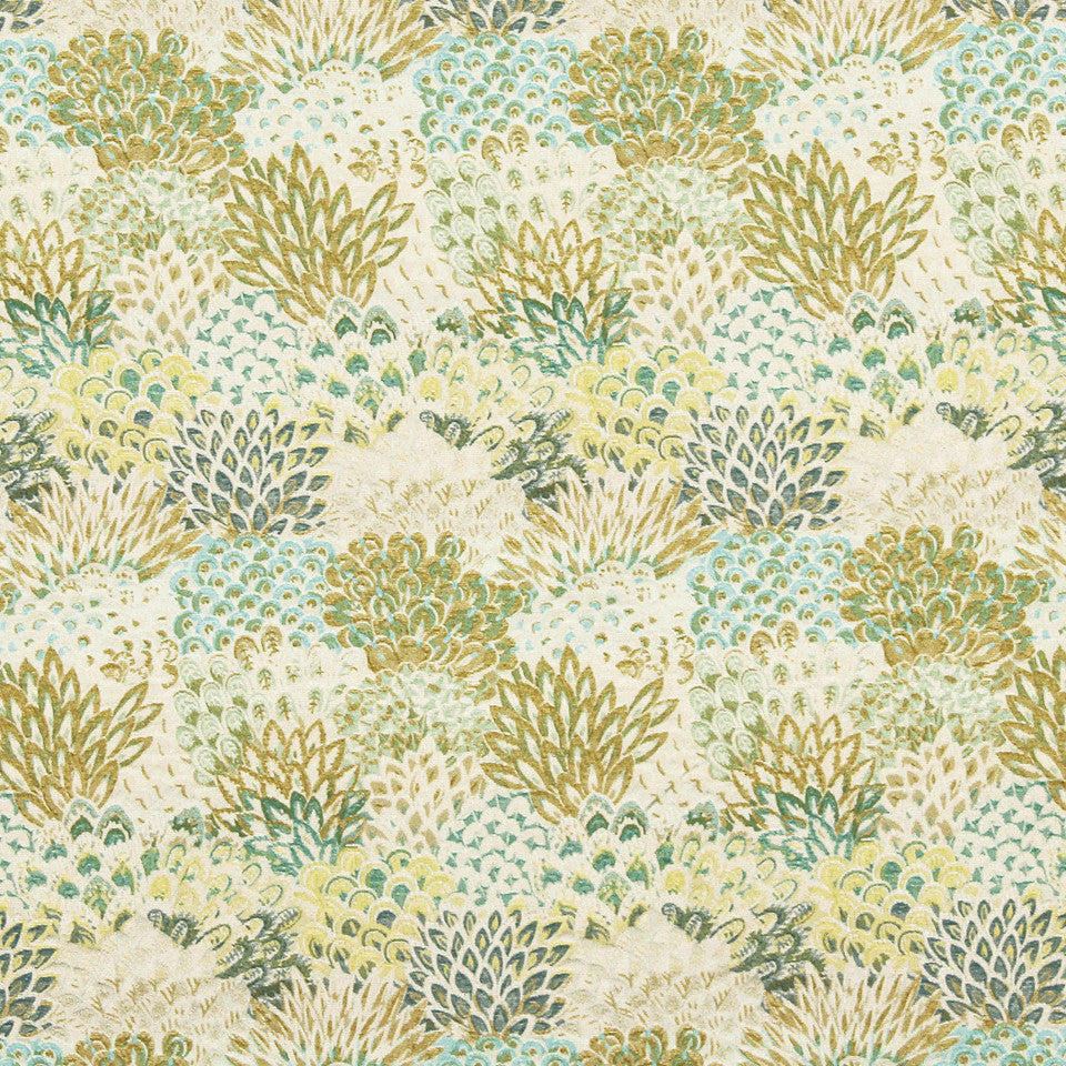 VIRIDIAN Feather Fans Fabric - Viridian