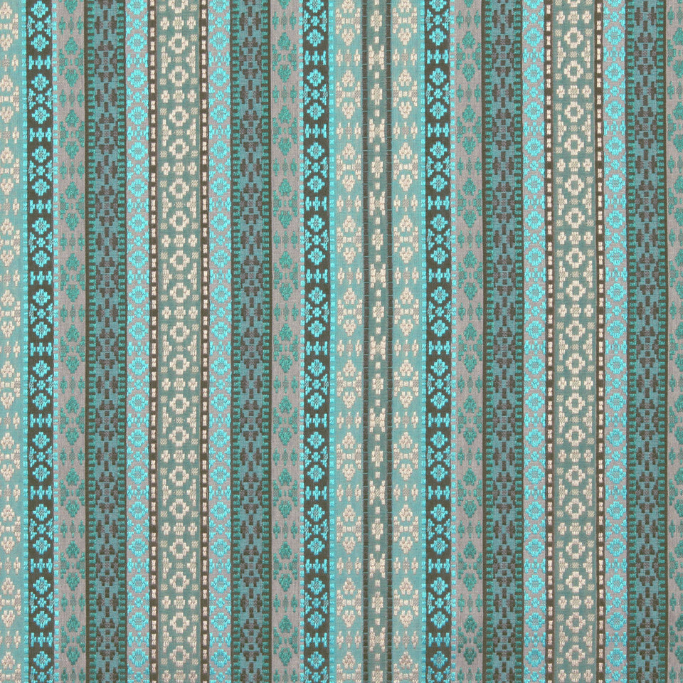 TURQUOISE Busy Stripes Fabric - Turquoise