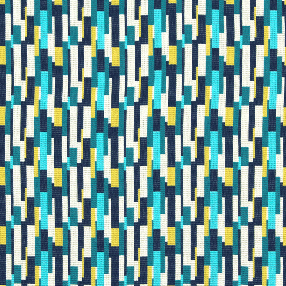 TURQUOISE Unique Shapes Fabric - Turquoise