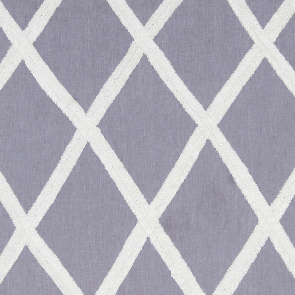 LINEN EMBROIDERY AND APPLIQUES Ribbon Lattice Fabric - Lavender