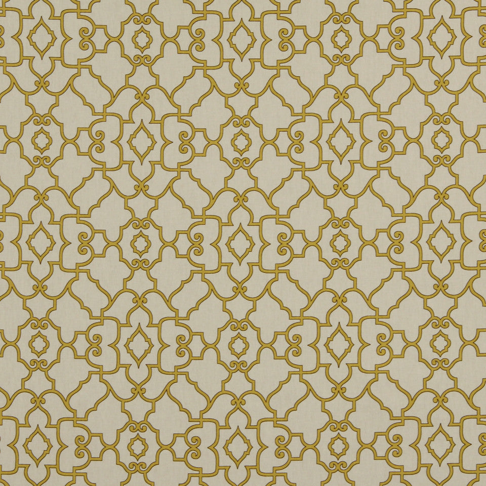 GOLDEN-MAIZE-HONEYSUCKLE Scroll Maze Fabric - Honeysuckle