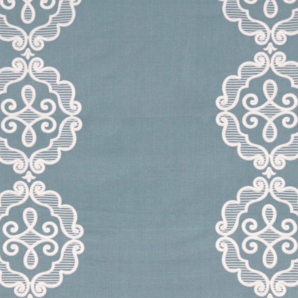 LINEN EMBROIDERY AND APPLIQUES Rue Royale Fabric - Pool