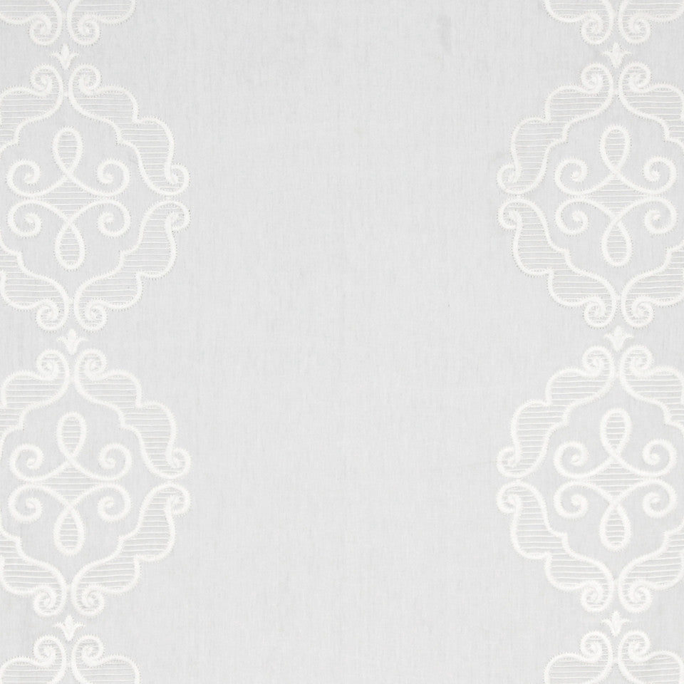 LINEN EMBROIDERY AND APPLIQUES Rue Royale Fabric - White