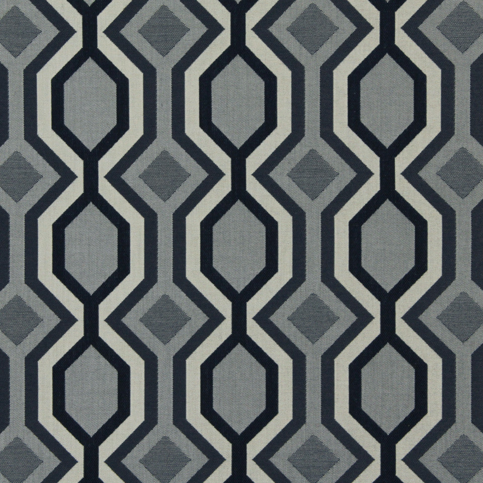 DWELLSTUDIO MODERN BUNGALOW Diamond Vista Fabric - Navy