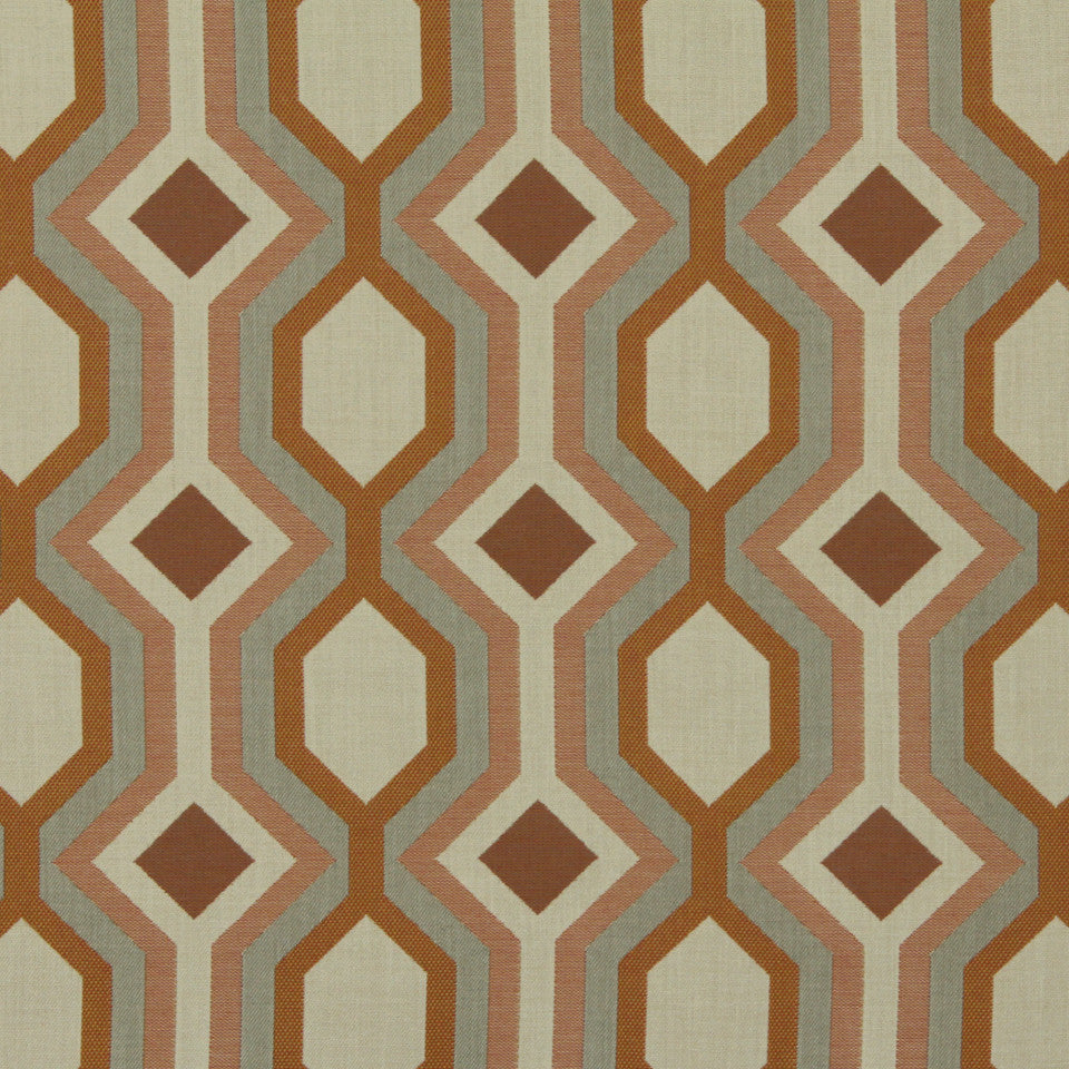 DWELLSTUDIO MODERN BUNGALOW Diamond Vista Fabric - Tangerine