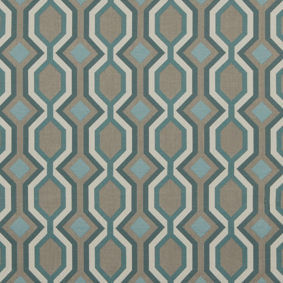 DWELLSTUDIO MODERN BUNGALOW Diamond Vista Fabric - Turquoise
