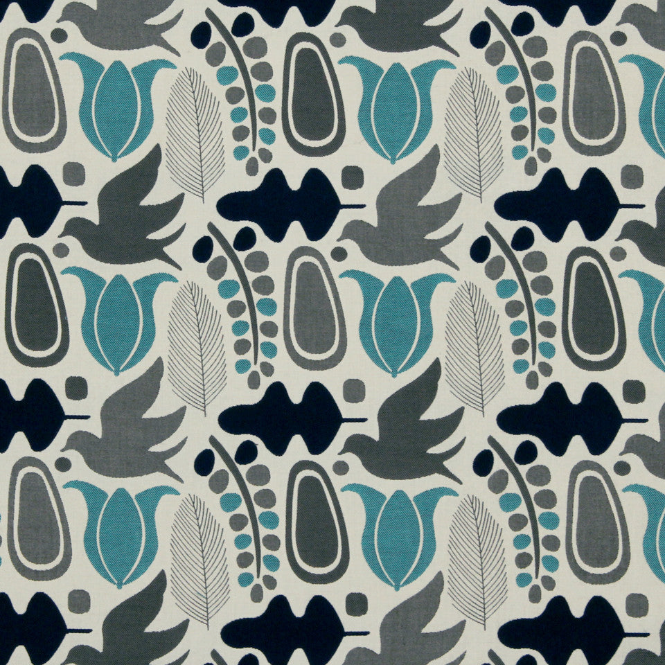 DWELLSTUDIO MODERN BUNGALOW Finmark Fabric - Navy