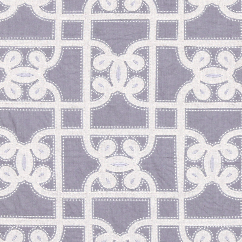 LINEN EMBROIDERY AND APPLIQUES Carlyle Gate Fabric - Lavender