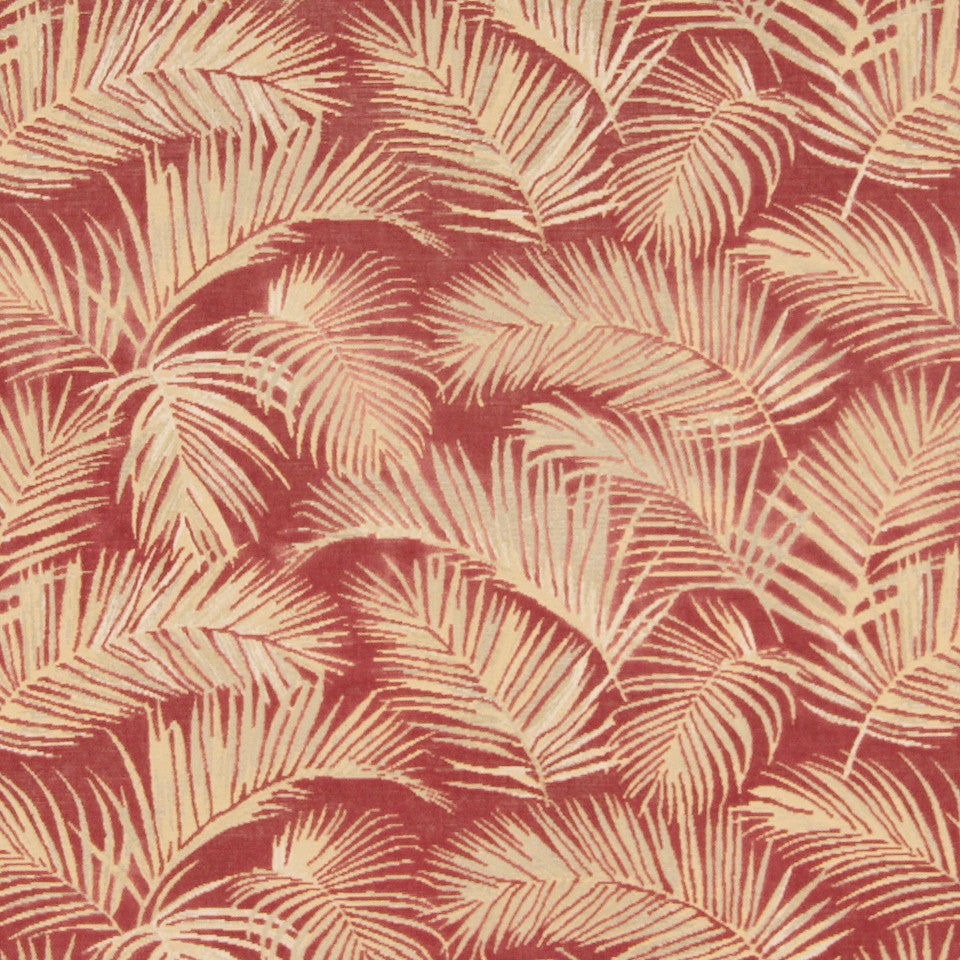 CORAL Palm Velvet Fabric - Coral