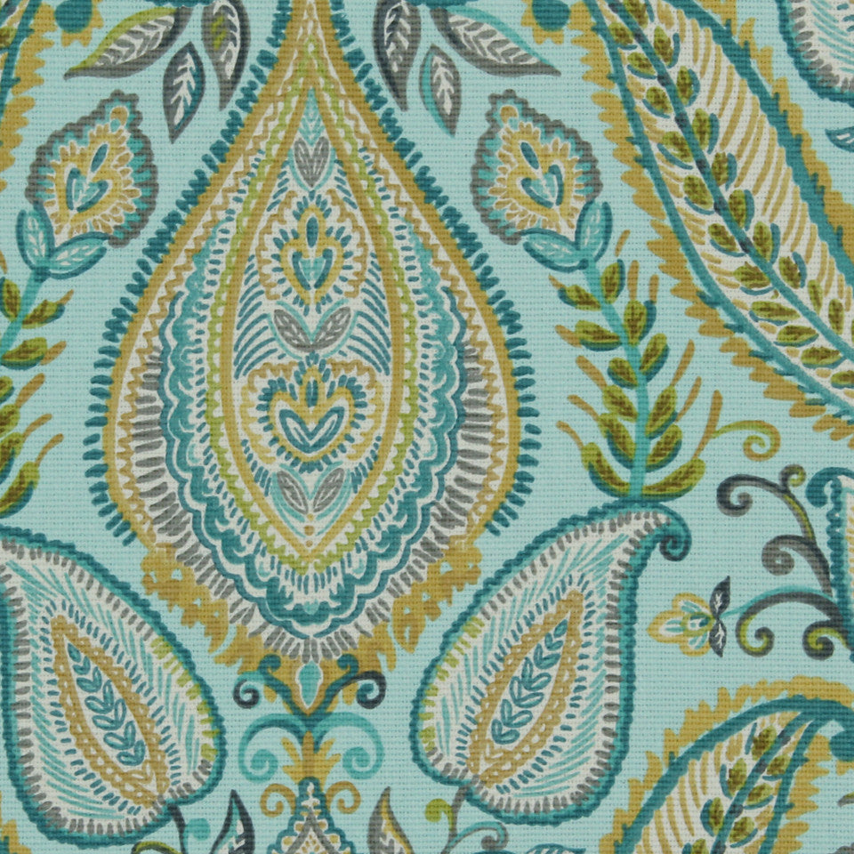 Ombre Paisley Fabric - Pool