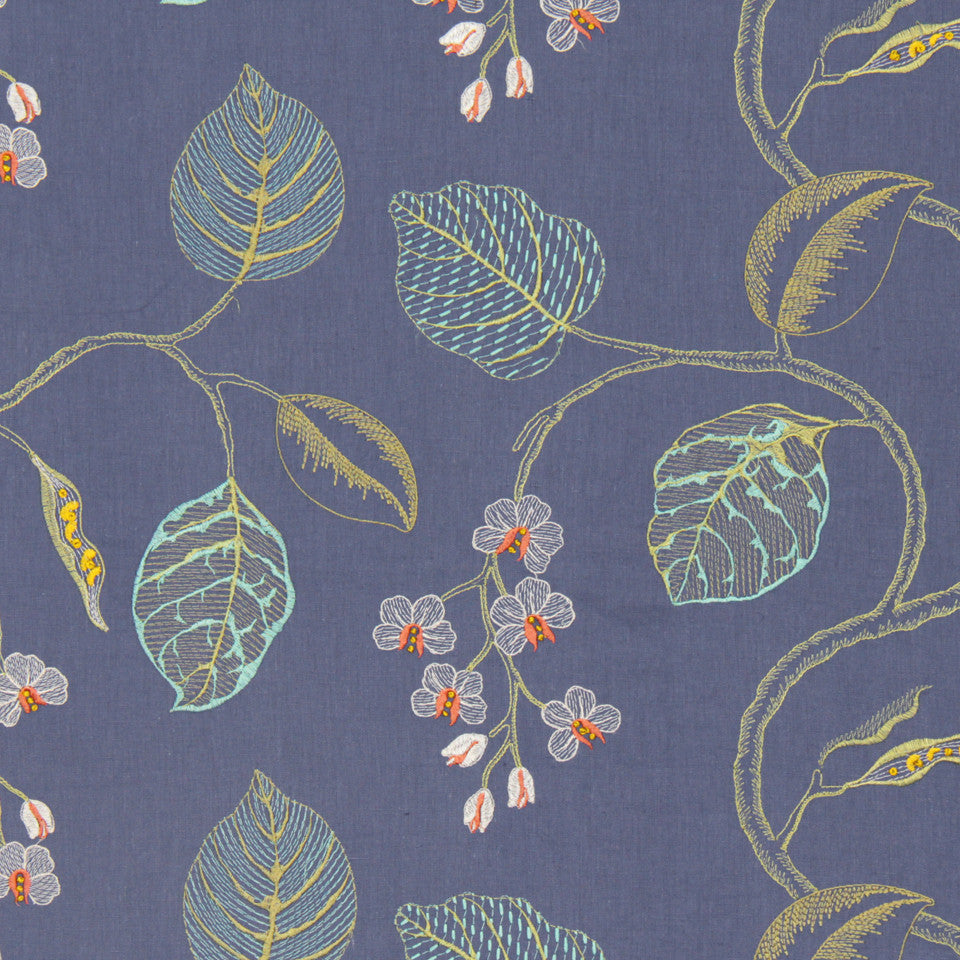 DEW-CORNFLOWER-WISTERIA Flower Branch Fabric - Cornflower