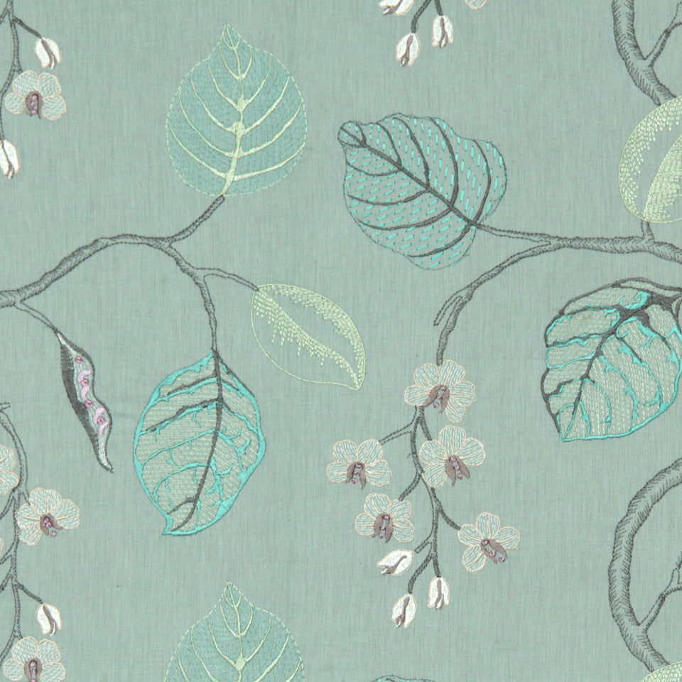 DEW-CORNFLOWER-WISTERIA Flower Branch Fabric - Dew