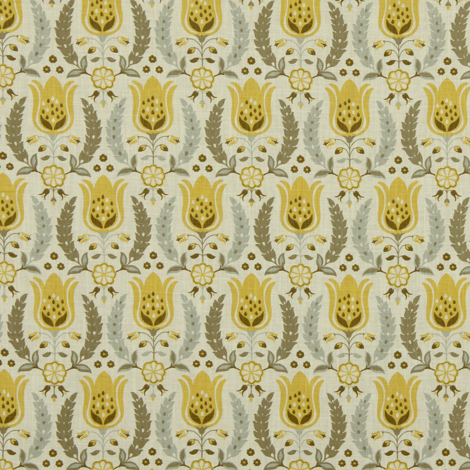 Ornate Frame Fabric - Zest