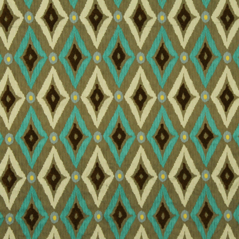 Modern Ikat Fabric - Pool