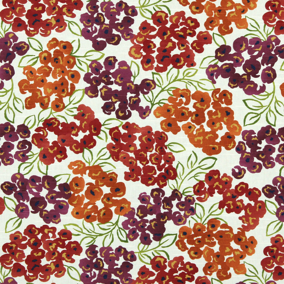 Luxury Floral Fabric - Poppy