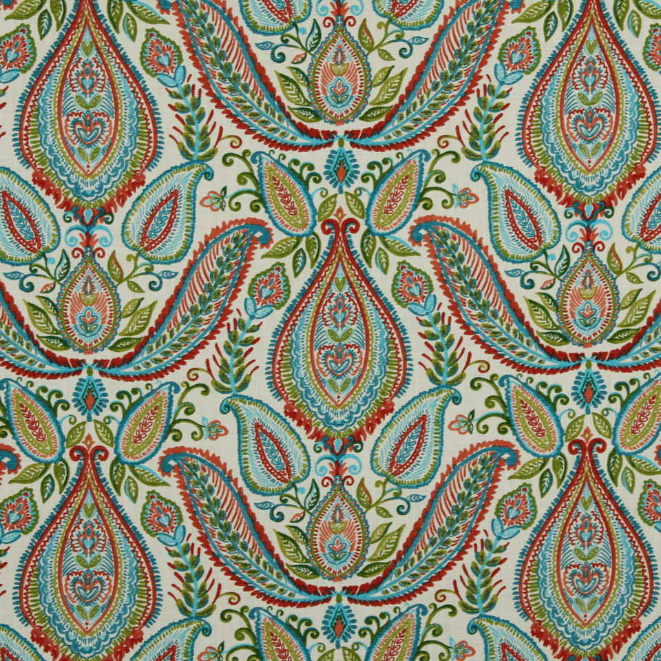 Ombre Paisley Fabric - Poppy