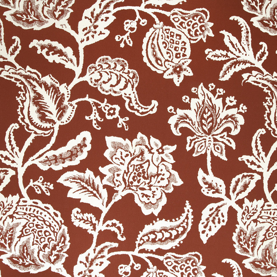 Jacobean Toss Fabric - Poppy