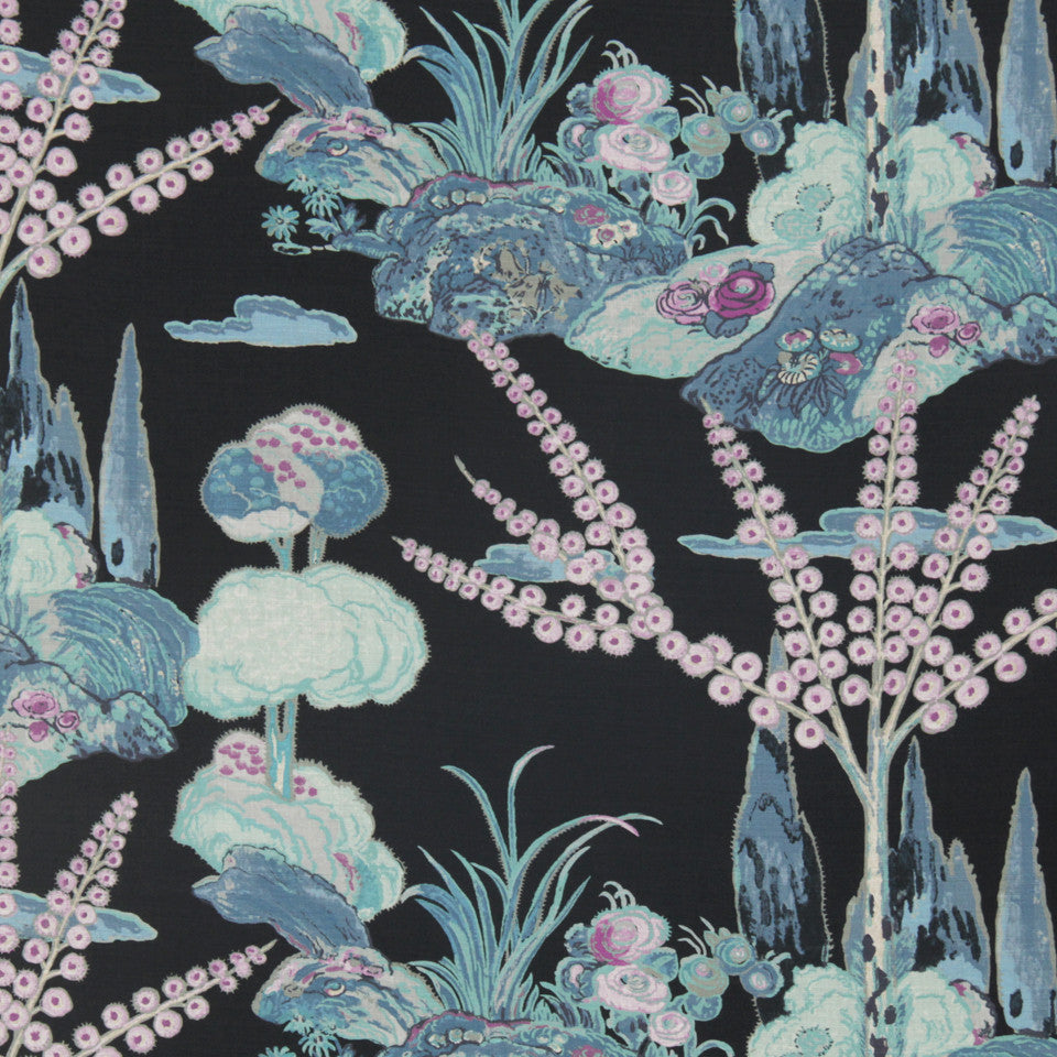 MIDNIGHT GARDEN Moon Blossom Fabric - Midnight