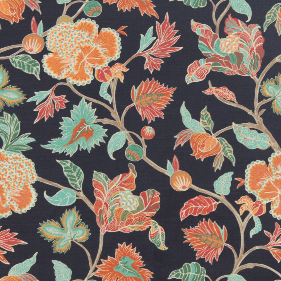 MIDNIGHT GARDEN Enchanted Vine Fabric - Navy