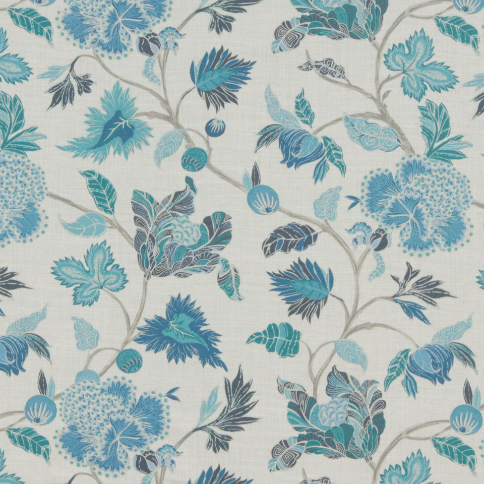 MIDNIGHT GARDEN Enchanted Vine Fabric - Indigo