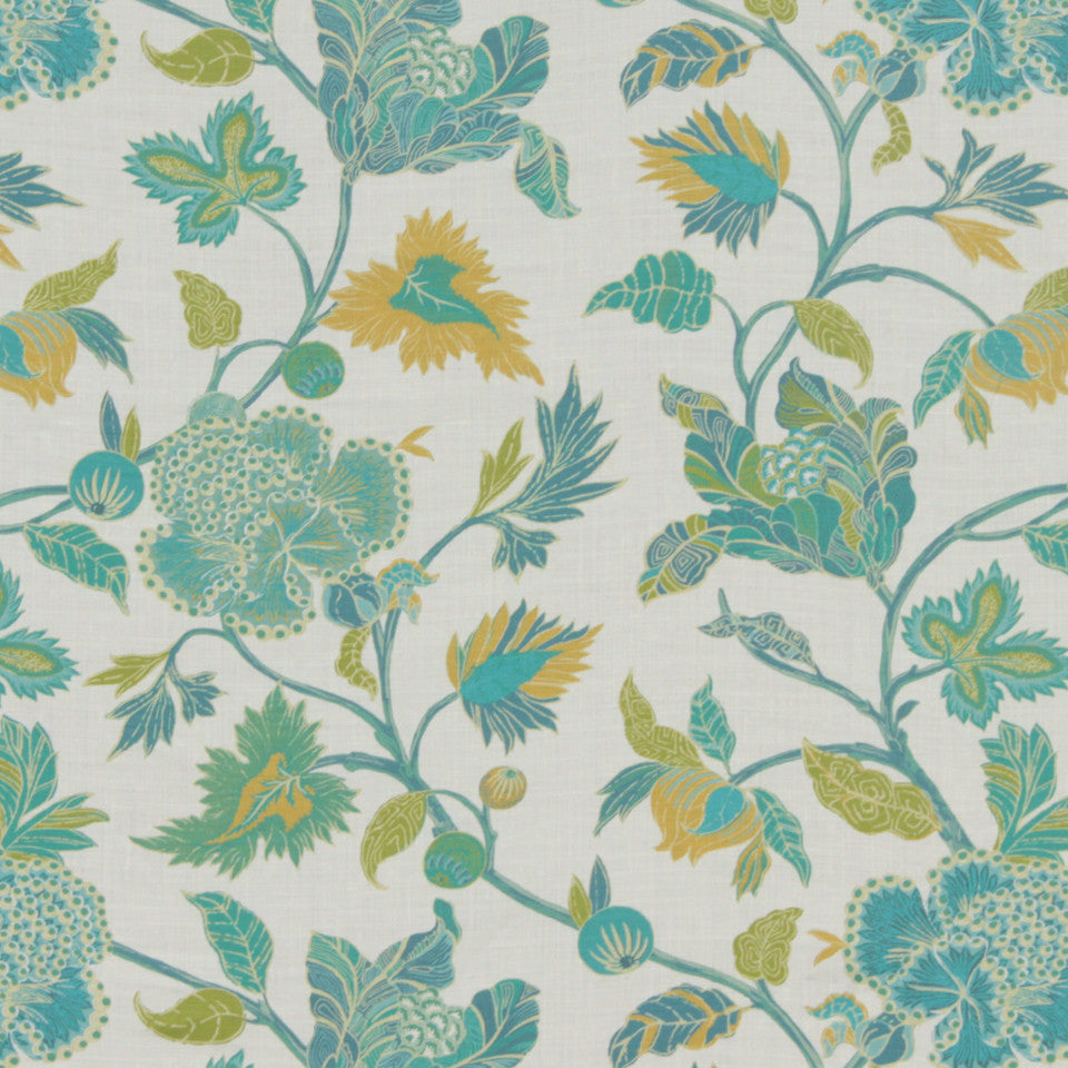 MIDNIGHT GARDEN Enchanted Vine Fabric - Emerald