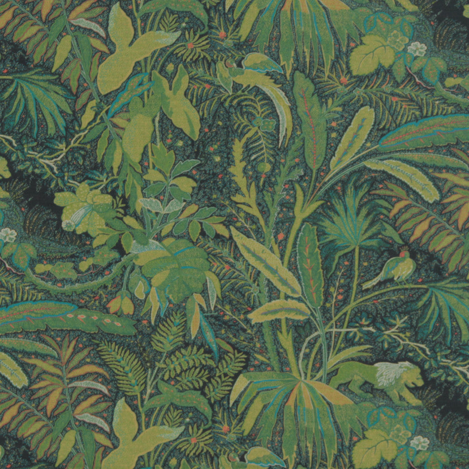 MIDNIGHT GARDEN Lioness Fabric - Emerald