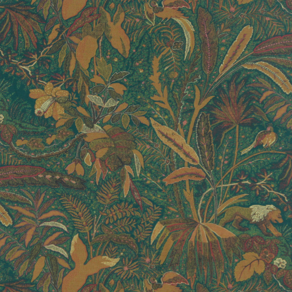 MIDNIGHT GARDEN Lioness Fabric - Teak