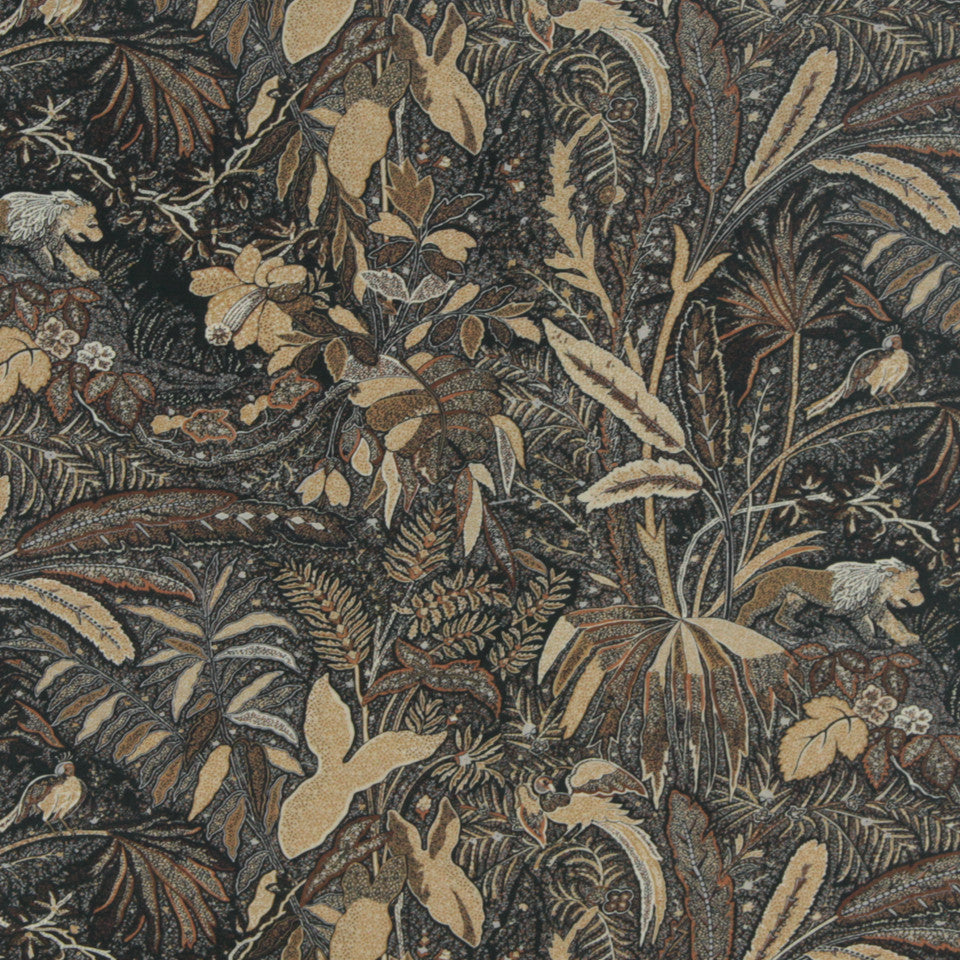 MIDNIGHT GARDEN Lioness Fabric - Walnut