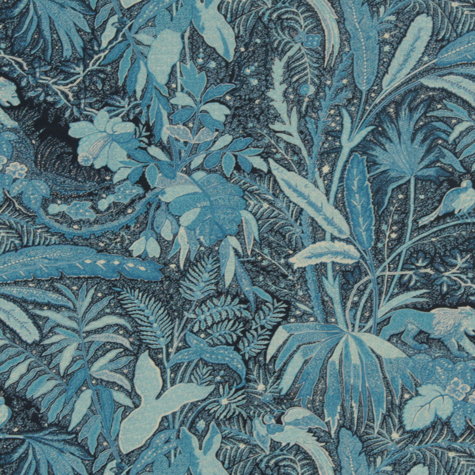 MIDNIGHT GARDEN Lioness Fabric - Indigo