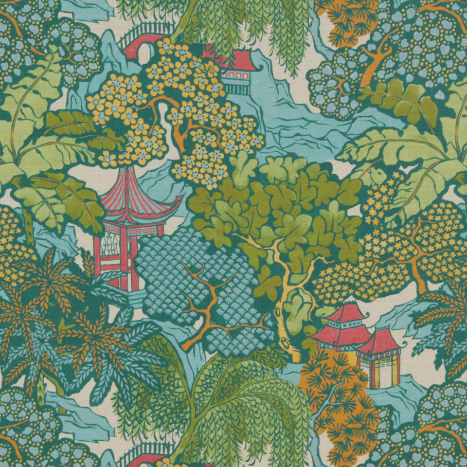 MIDNIGHT GARDEN Hidden Temple Fabric - Emerald