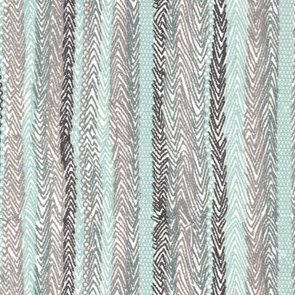 DEW-CORNFLOWER-WISTERIA Zigzag Rows Fabric - Dew