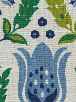 Ornate Frame Fabric - Ultramarine