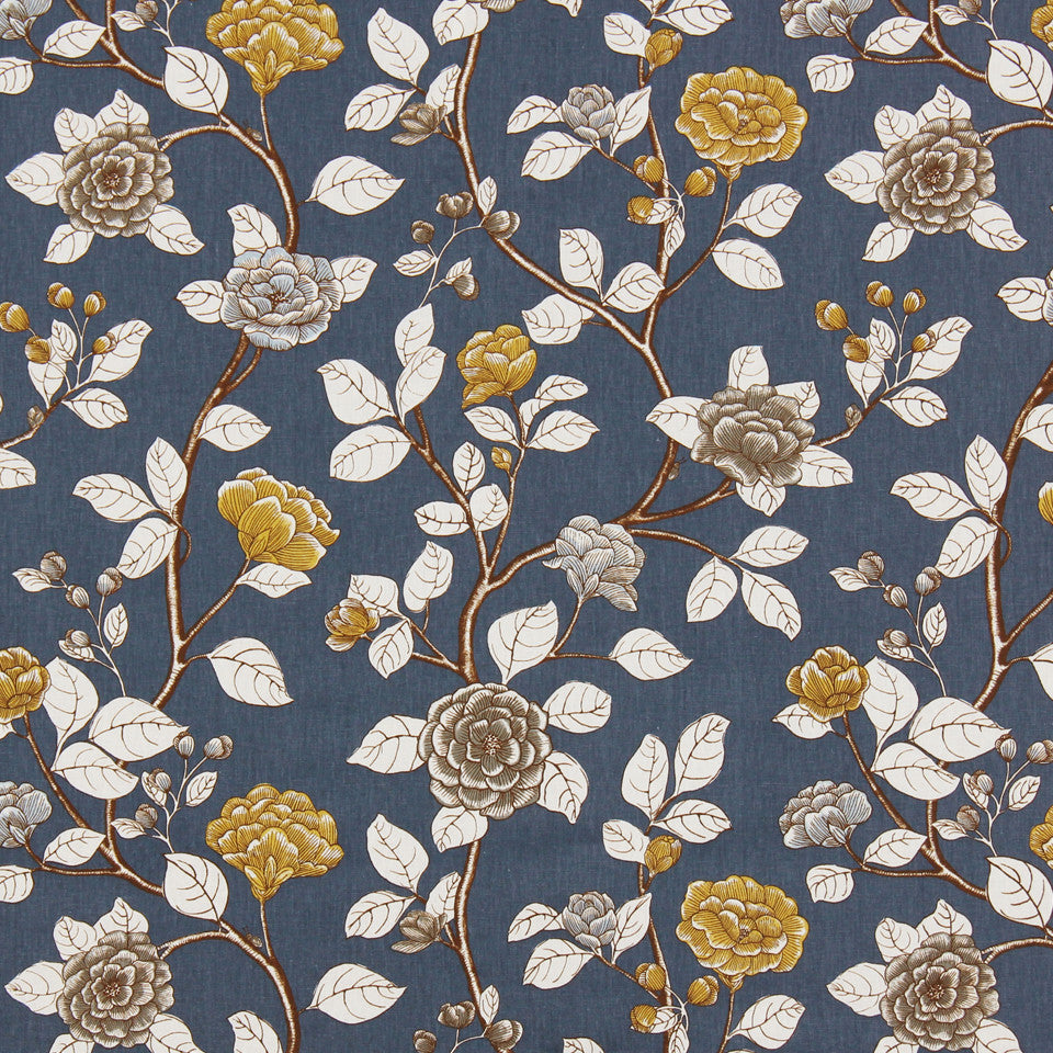 DWELLSTUDIO DECORATIVE MODERN Leda Peony Fabric - Midnight