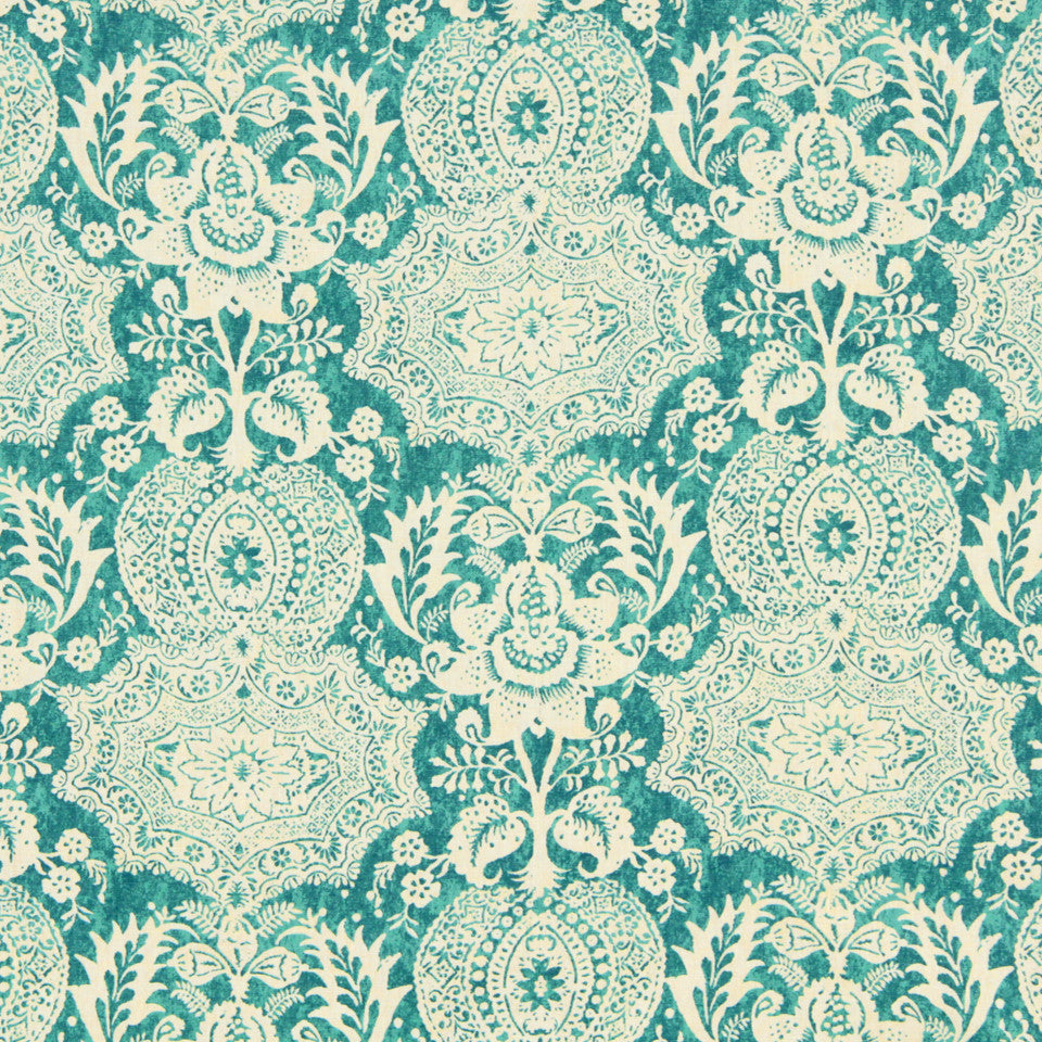 WILLIAMSBURG CLASSICS COLLECTION III Market Square Fabric - Turquoise