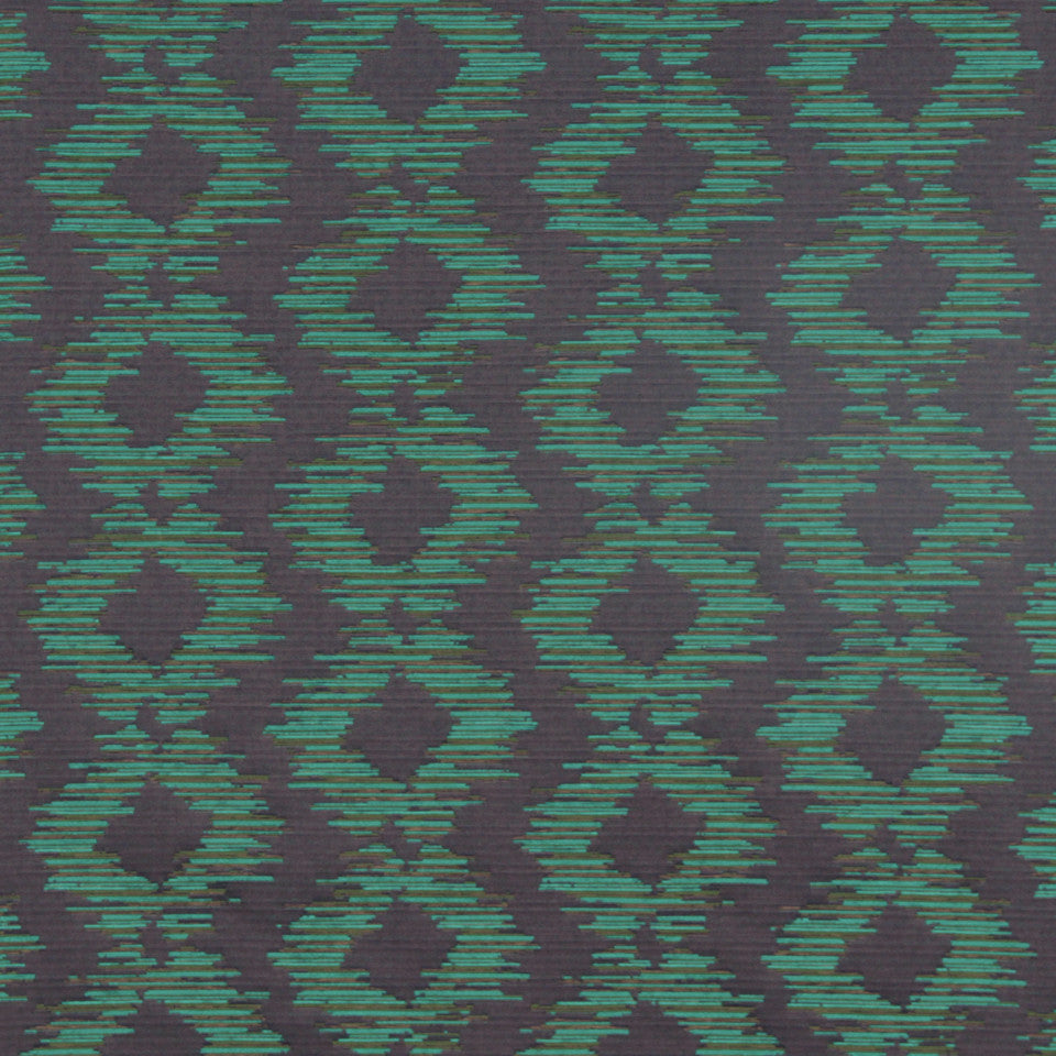 MODERN II Abstract Ikat Fabric - Emerald