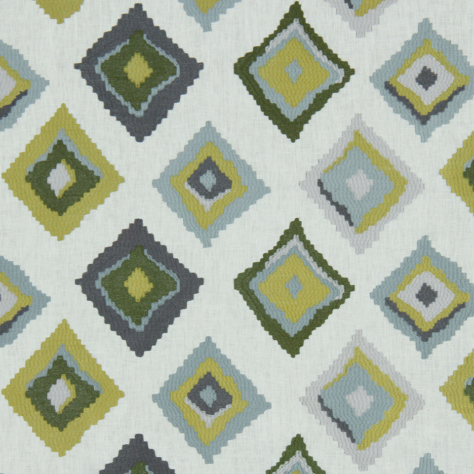 LEMONGRASS-DEW-CORNFLOWER Native Trail Fabric - Rain
